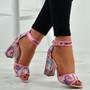 Alyssa Floral Pink Block Heel Sandals