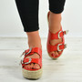 Kendal Red Espadrille Flatform Sandals