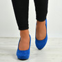 Elsa Dark Blue Slip On Pumps