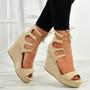Braylee Apricot Lace Up Wedge Platform Sandals