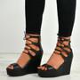 Braylee Black Lace Up Wedge Platform Sandals