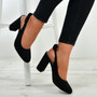 Alisa Black Sling Back Pumps