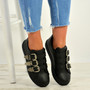 Dahlia Black Buckle Trainers