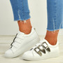 Dahlia White Buckle Trainers