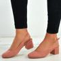 Aubrie Pink Low Heel Pumps