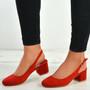 Aubrie Red Low Heel Pumps