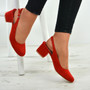 Aubrie Red Low Heel Pumps