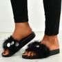 Nicole Black Fur Sandals