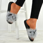 Nicole Grey Fur Sandals