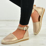 Stella Champagne Ankle Strap Flat Espadrille