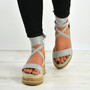 Yasmin Grey Ankle Wrap Sandals