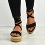 Yasmin Black Ankle Wrap Sandals