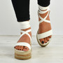 Yasmin White Ankle Wrap Sandals