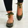 Janiyah Green Ankle Wrap Flats