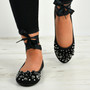 Janiyah Black Ankle Wrap Flats