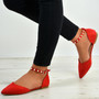 Casey Red Pearl Flats