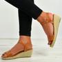 Brisa Camel Espadrille Wedge Sandals