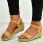 Brisa Beige Espadrille Wedge Sandals