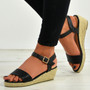 Brisa Black Espadrille Wedge Sandals