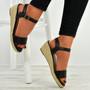 Brisa Black Espadrille Wedge Sandals