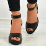 Cailyn Black Pu High Heel Sandals