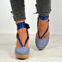 Rosa Blue Ankle Wrap Pumps