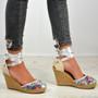 Megan Silver Ankle Wrap Pumps
