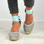 Taniyah Blue Ankle Wrap Pumps