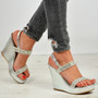 Harmony Silver Studded Wedges