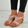 Janelle Flower T Strap Pink Sandals
