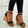 Amara Black Wedge Sandals