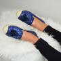 Deja Dark Blue Glitter Ballerinas