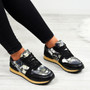 Alice Black Floral Trainers