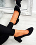Kamari Black Mid Heel Pumps