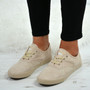 Ximena Beige Lace Up Trainers