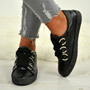 Brittany Black Glitter Sparkle Trainers