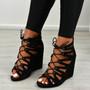 Myem Black Suede Lace Up Sandals