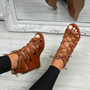 Myem Brown Lace Up Sandals
