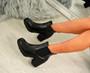 Keyla Black Pu Zip Ankle Boots