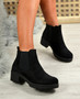 Nino Black Suede Zip Ankle Boots