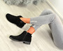 Jolie Black Suede Buckle Ankle Boots