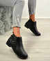 Jolie Black Pu Buckle Ankle Boots