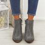 Junona Grey Cuban Heel Boots