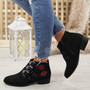 Afya Black Suede Rose Ankle Boots