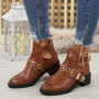 Agoto Camel Buckle Ankle Boots