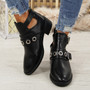 Agoto Black Buckle Ankle Boots