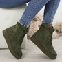 Elisa Green Lace Up Ankle Boots