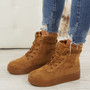 Elisa Camel Lace Up Ankle Boots