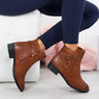 Vero Camel Buckle Ankle Boots