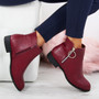 Amaya Wine Zip Ankle Boots